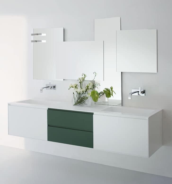 Mobile lavabo moderno con cassetti nei colori bianco e verde idfdesign - Mobile cassetti bagno ...