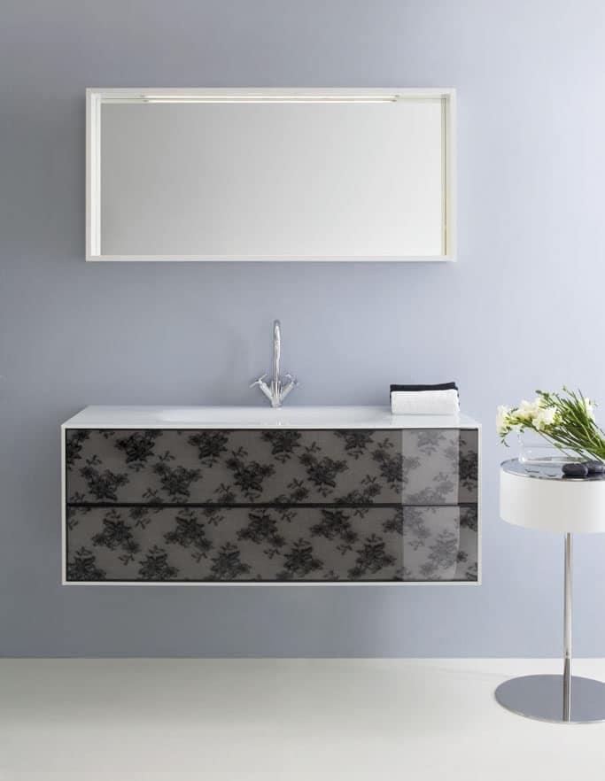 Mobiletto da bagno, con cassetti decorati con pizzo nero | IDFdesign