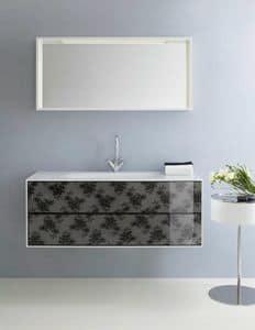 Coc� 03, Mobiletto da bagno, con cassetti decorati con pizzo nero