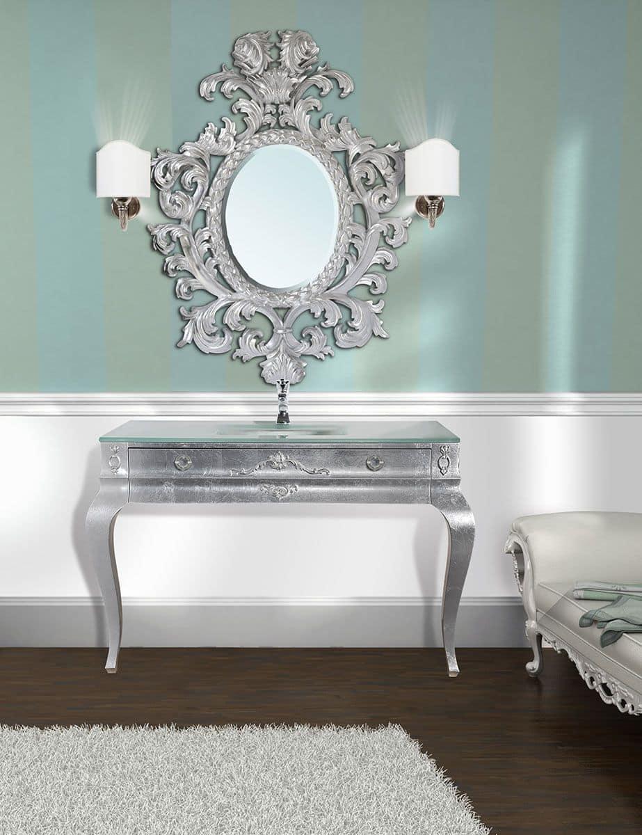 Consolle mobile da bagno color argento cassetto automatico piano in cristallo - Bagno la bussola ...