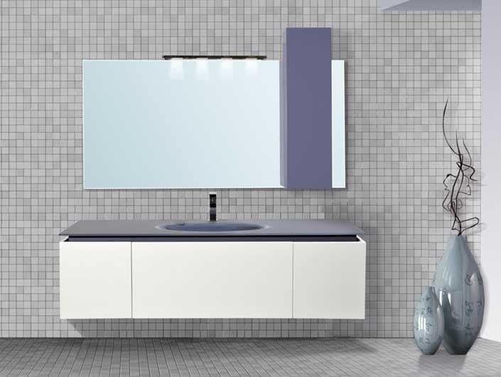 Diadema mobile bagno piano in vetro extrachiaro color bianco e blu uva idfdesign - Bagno la bussola ...
