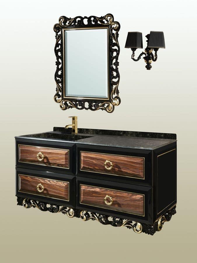 Diamante comp.01DL, Mobile da bagno e specchiera con intagli, decorazioni a foglia oro o argento ...