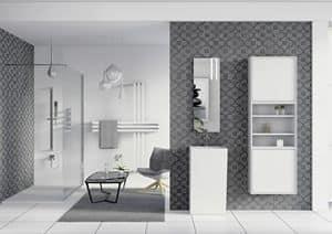 Domino 08, Mobili da bagno, specchio e armadio con vani a giorno