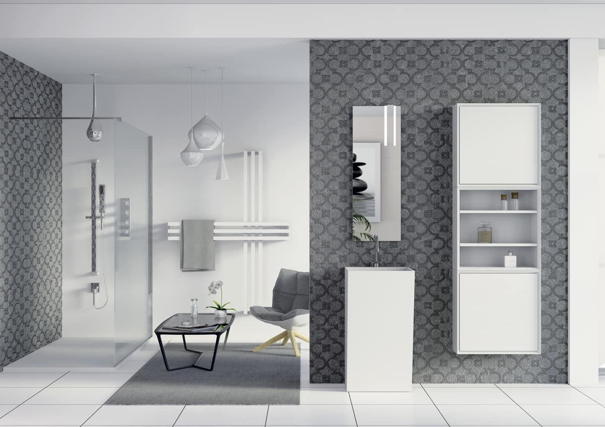 Mobili da bagno specchio e armadio con vani a giorno - Mobili bagno con specchio ...