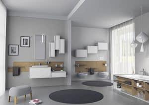 Domino 09, Arredamento per bagno, con mobili pensili laccati