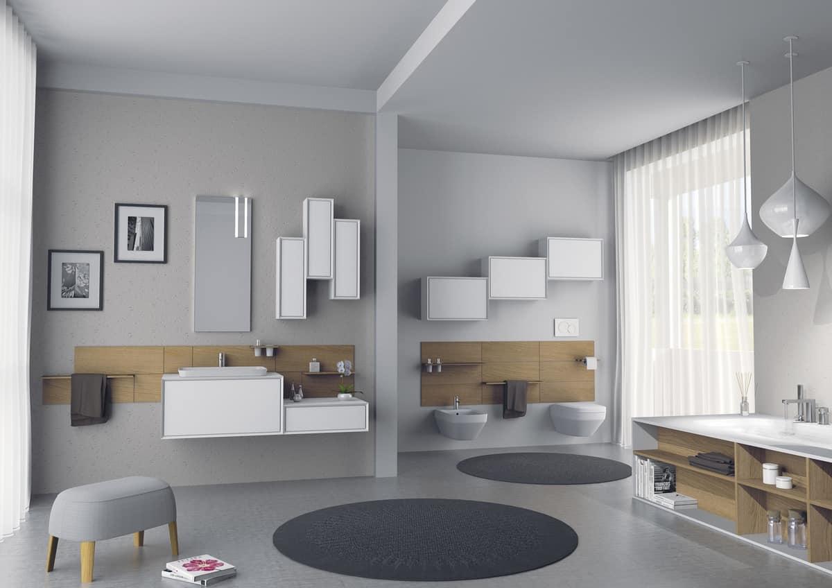 Arredamento per bagno con mobili pensili laccati idfdesign - Pensili per bagno ...