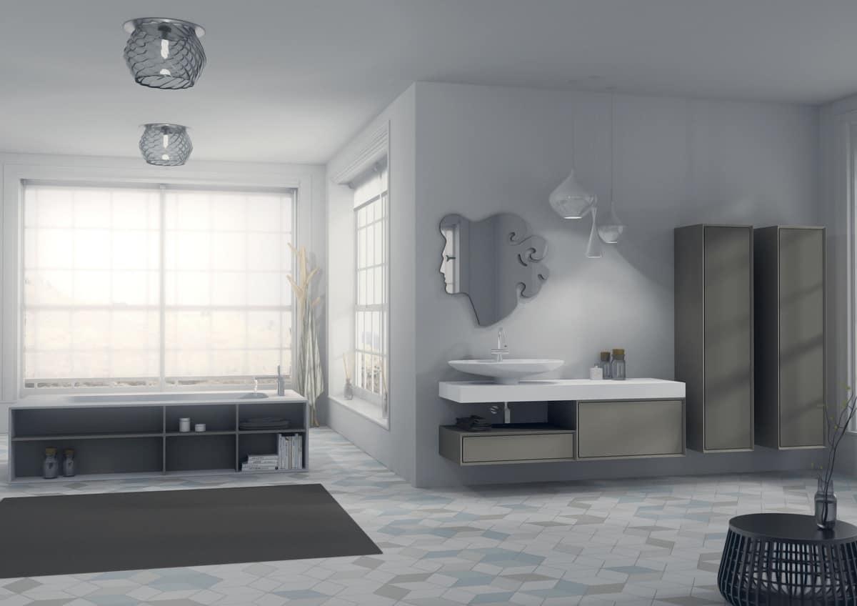 Arredo da bagno con specchio originale e lavabo idfdesign