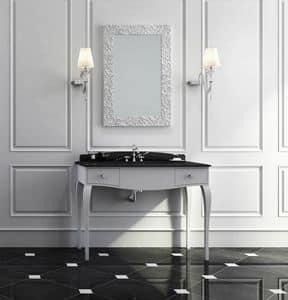Dolce Vita 02, Mobile da bagno in stile classico, bianco opaco con piano in marmo nero