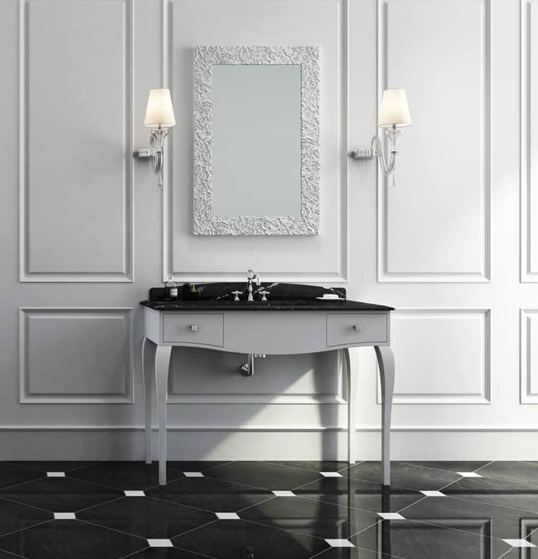 Mobile da bagno in stile classico bianco opaco con piano in marmo nero idfdesign - Mobile bagno classico bianco ...