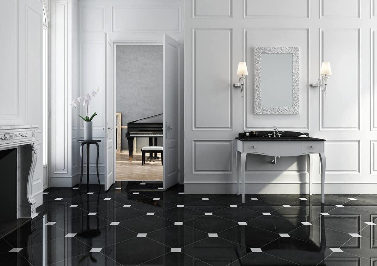 Mobile da bagno in stile classico bianco opaco con piano in marmo nero idfdesign - Arredo bagno classico elegante prezzi ...