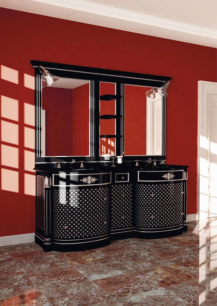 Mobile con doppio lavello color nero finiture foglia - Bagno con doppio lavello ...