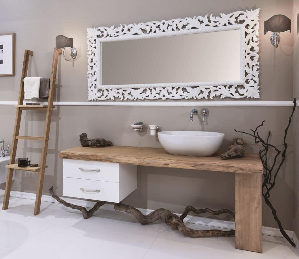 Arredo bagno con piano in castagno massello con doppia cassettiera e lavabo in ceramica idfdesign - Mobili in castagno massello ...