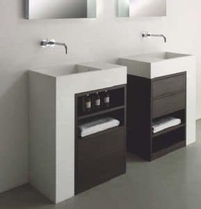 Elle comp.1, Arredo da bagno in CORIAN e legno, con cassetti