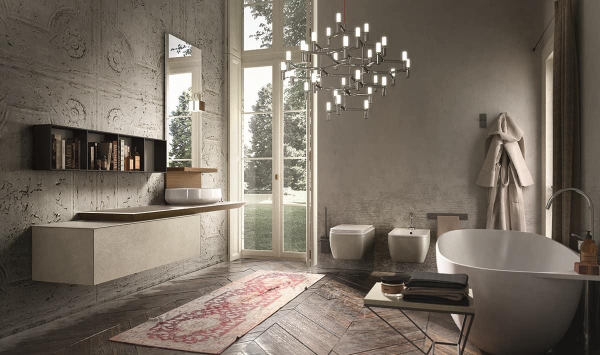 Bagno Aperto In Stile Moderno By Edone Design Interior : Mobile con finitura in resina di pietra per bagno idfdesign