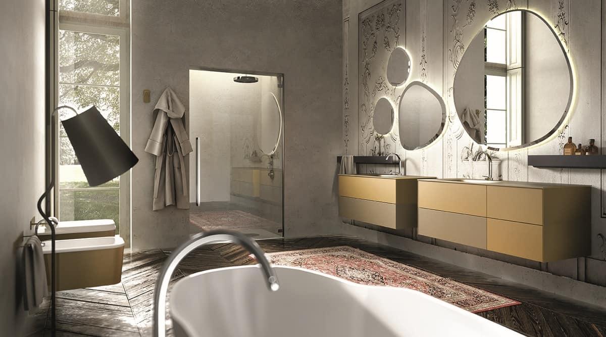 Composizione di mobili da bagno, colore crema e senape ...