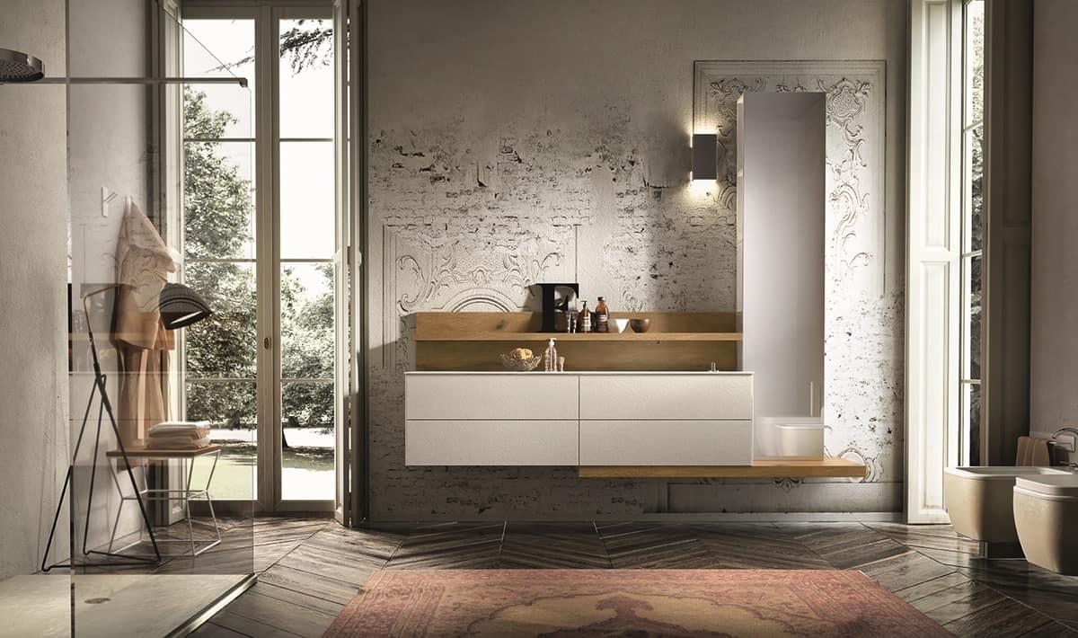 Arredamento per bagno con boiserie e colonna specchio idfdesign