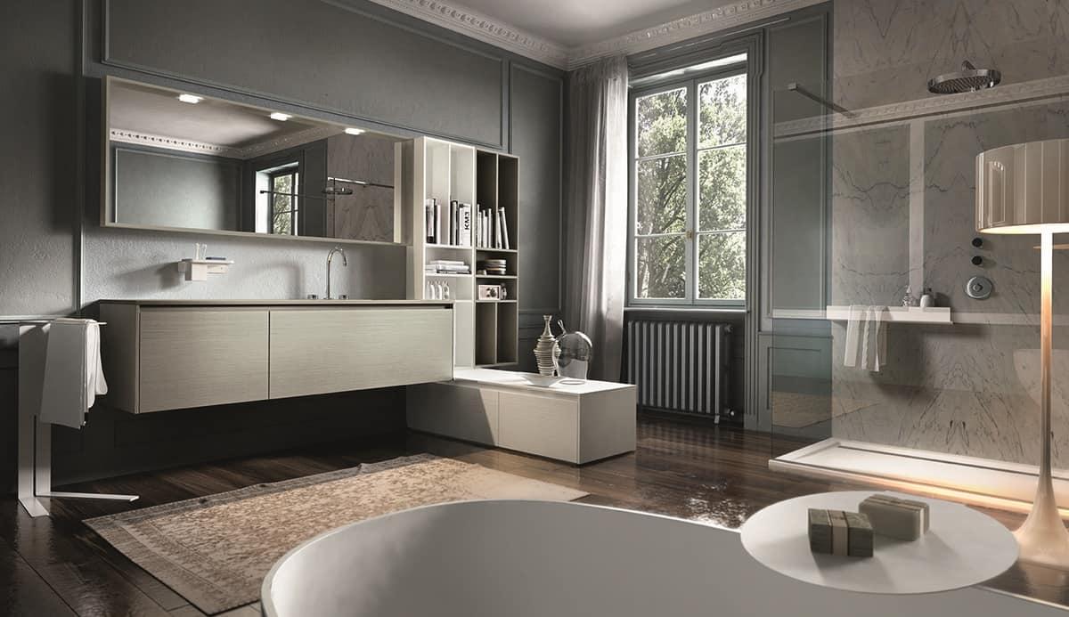 Mobile con lavabo in rovere laccato opaco idfdesign - Karol mobili bagno ...
