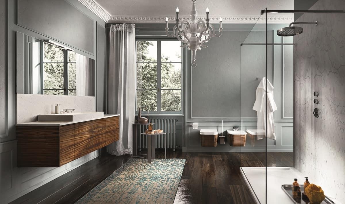 Mobile da bagno con finitura palissandro idfdesign for Aziende arredo bagno