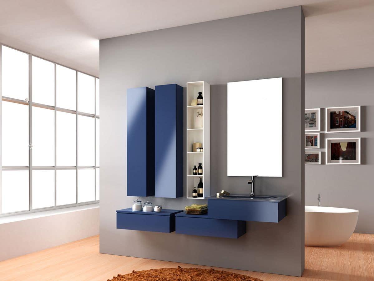 Composizione bagno moderno con mobile bagno specchiera e - Composizione bagno moderno ...