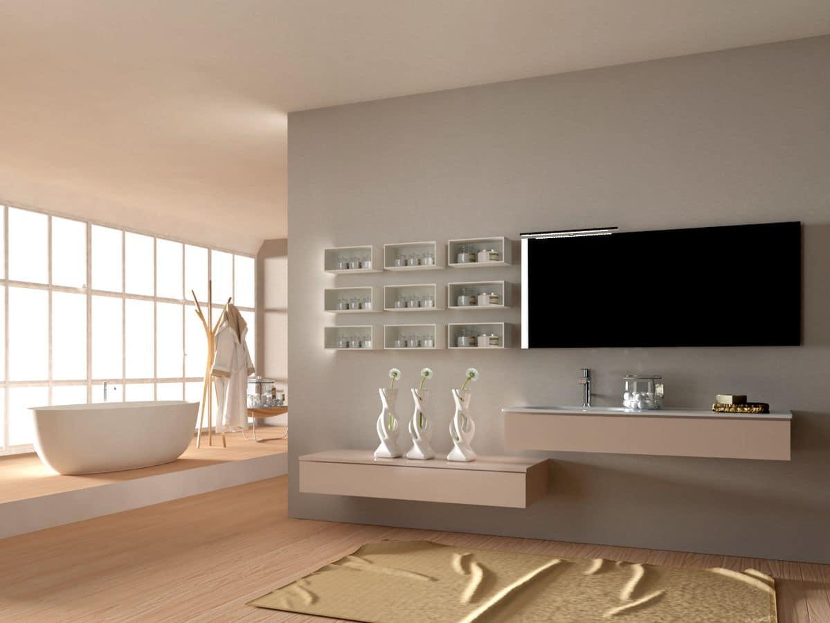 Composizione bagno moderno con lavabo e specchiera idfdesign - Composizione bagno moderno ...