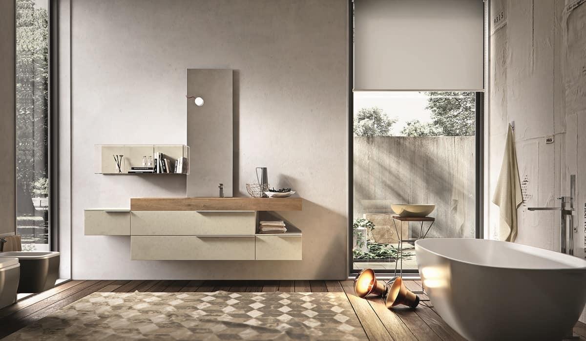 Composizione da bagno in melaminico cemento perla idfdesign for Arredo bagno it