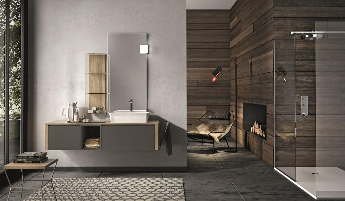 Mobile da bagno color carbone con specchiera idfdesign for In mobili di design