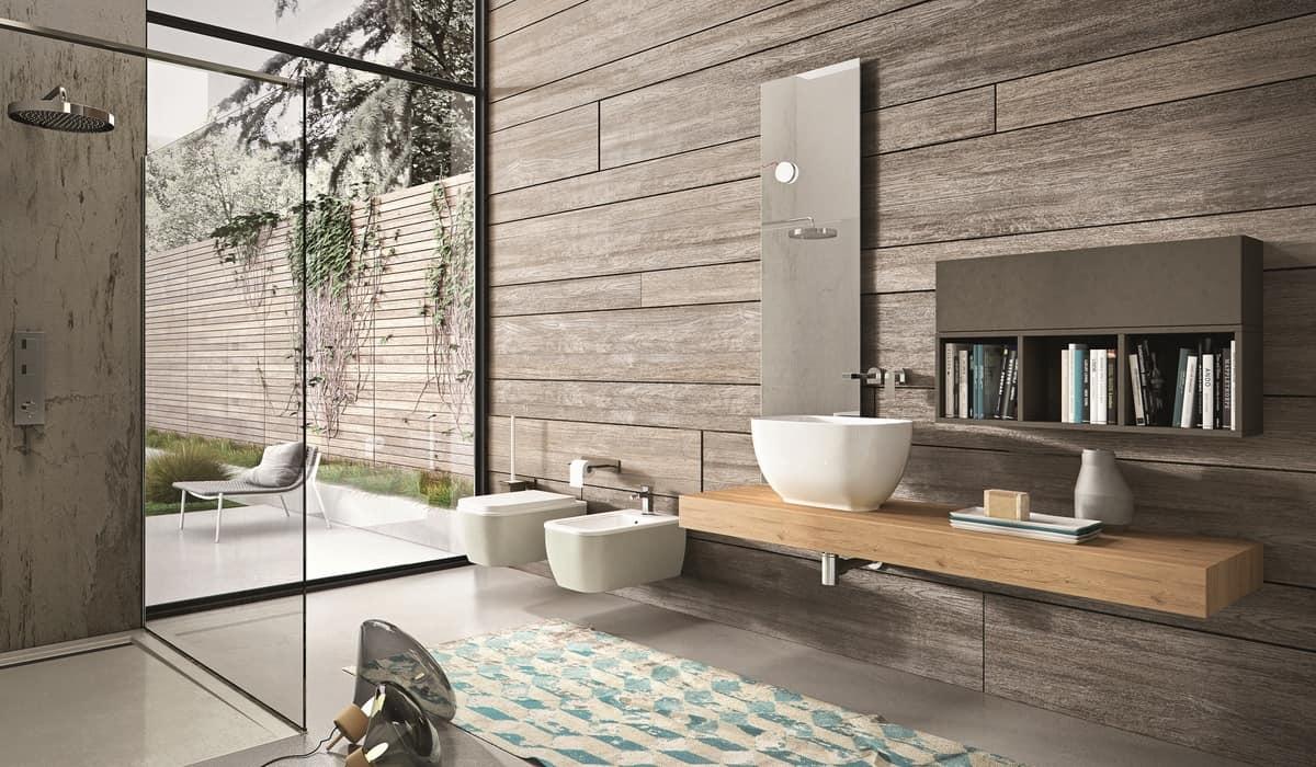 Consolle da bagno in rovere con pensile e specchiera - Bagno con sale grosso ...