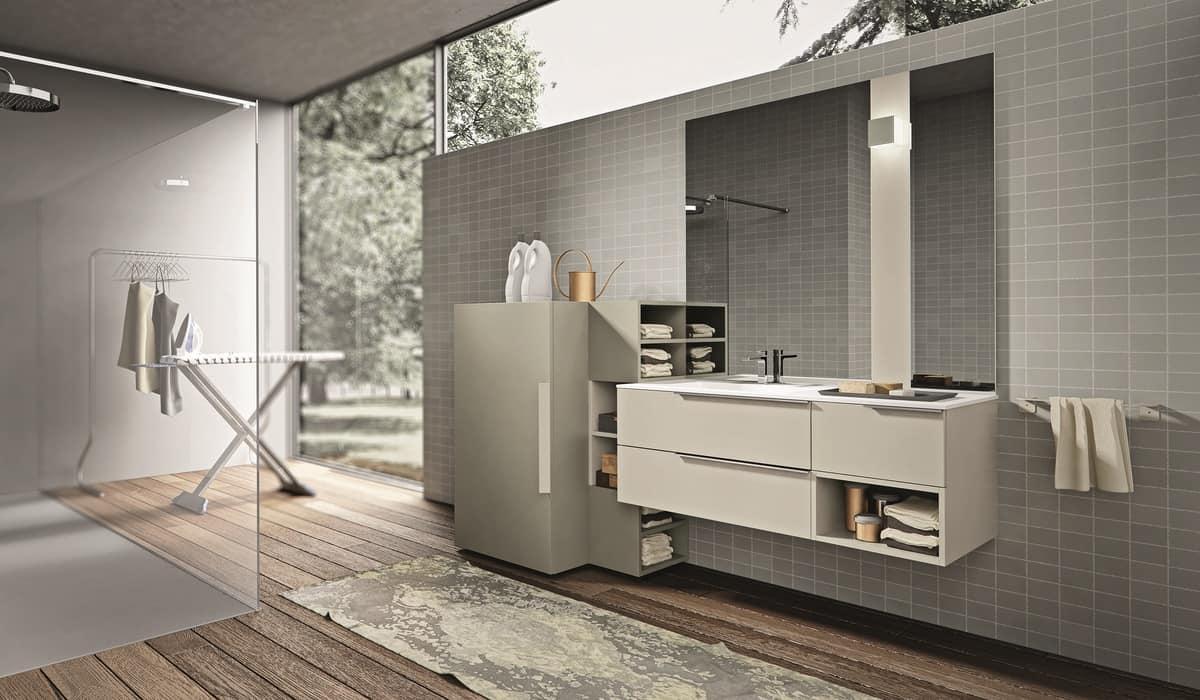 Composizione di mobili da bagno con porta lavatrice | IDFdesign