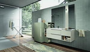 Giunone 414, Composizione di mobili da bagno con porta lavatrice