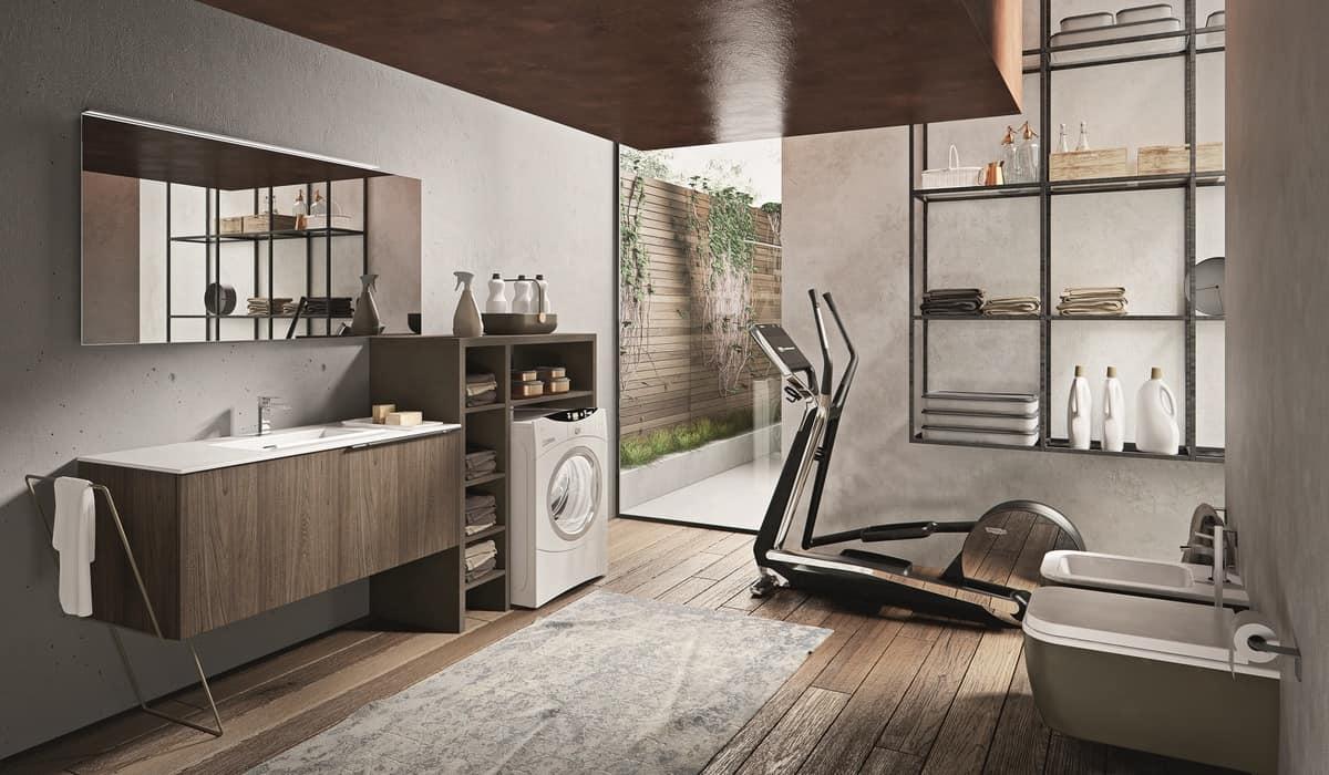 Mobile da bagno con accessori vari e specchiera idfdesign for Mobile bagno minimal
