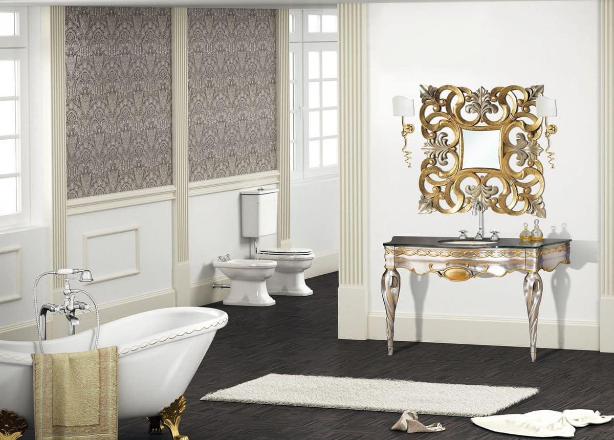 Ischia mobile in stile classico per bagno cassetto ammortizzato piano in cristallo - Mobile bagno stile classico ...