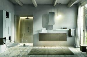 Ker 316, Mobile per bagno con lavabo e specchiera irregolare