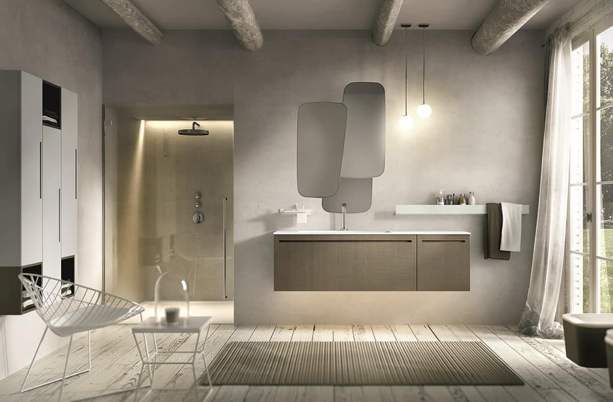 Mobile per bagno con lavabo e specchiera irregolare idfdesign