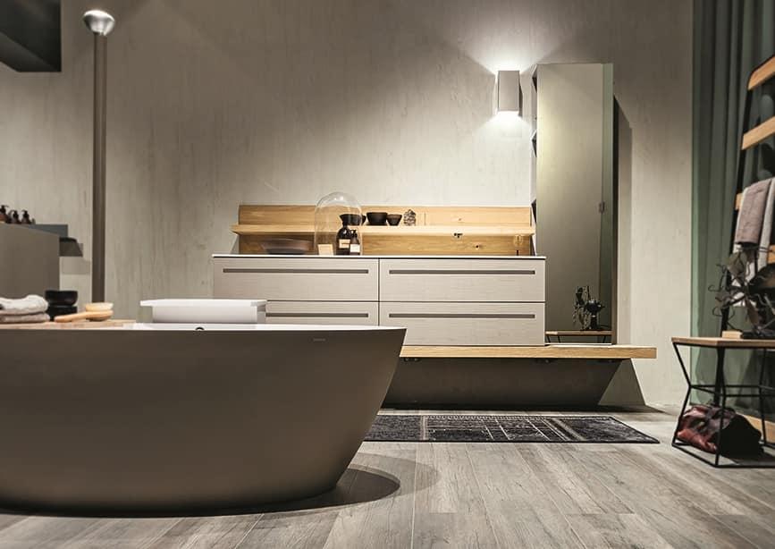 Composizione da bagno in legno di rovere con vasca idfdesign - Contenitori per bagno ...