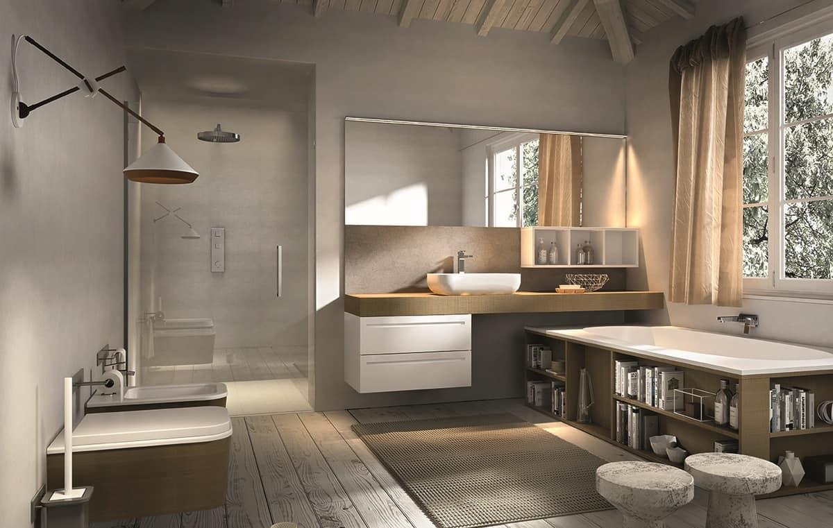 arredamento da bagno con vasca con contenitori idfdesign