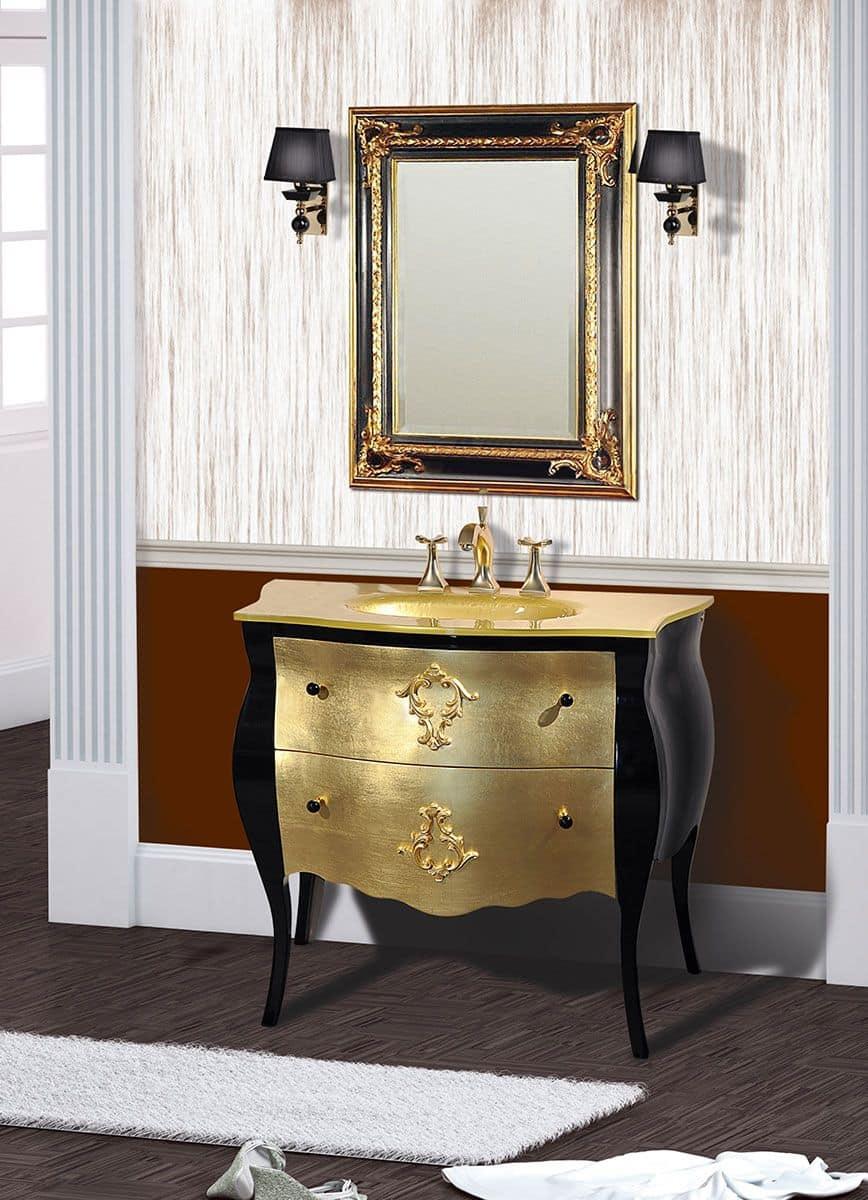 Lavabo per bagno in stile classico cassetti ammortizzati for Bagno d oro