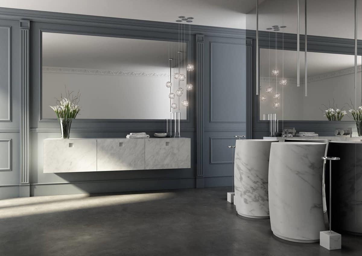 Mobile bagno con frontali finitura marmo di carrara - Bagno 4 mq arredo ...