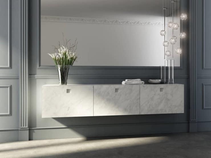 Bagni In Marmo Di Carrara : Mobile bagno con frontali finitura marmo di carrara idfdesign