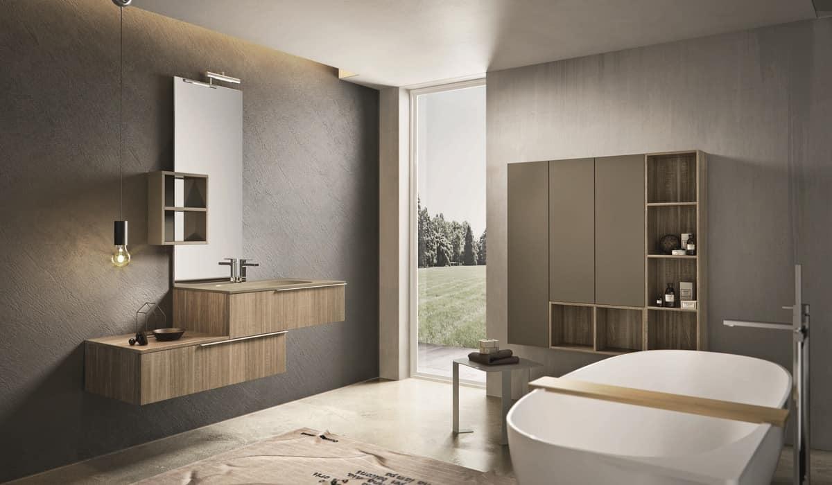 Composizione di mobili per bagno con pensili in legno for E arredo bagno