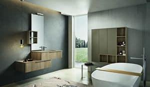 Kyros 112, Composizione di mobili per bagno con pensili in legno