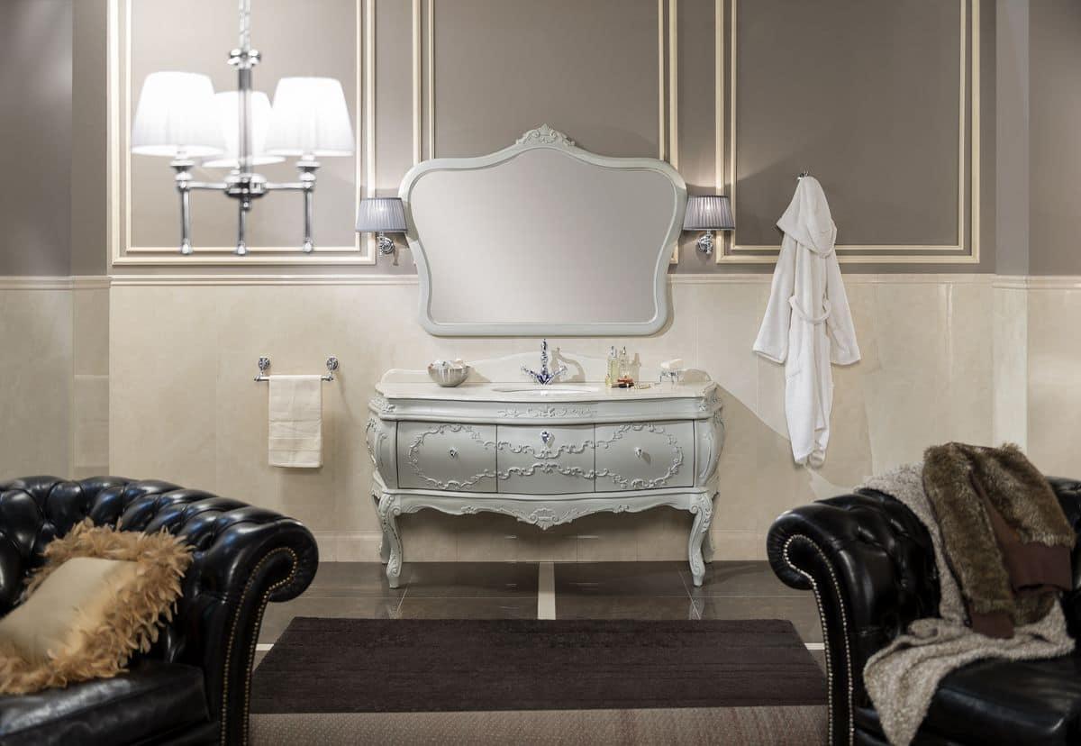 Arredo bagno con base sospesa per lavabo laccata ral 7044 - Stile barocco mobili ...