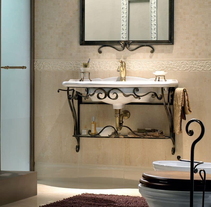 Lauren, Consolle da bagno sospesa, in ferro battuto, finitura antracite bronzo, in stile ...