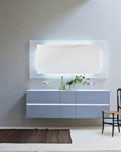 Light 01, Mobile bagno con due lavabi, colore azzurro opaco
