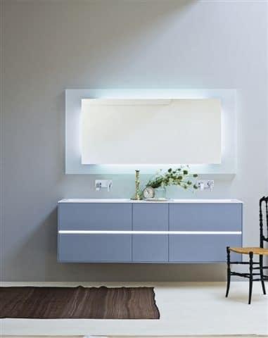 Mobile bagno con due lavabi colore azzurro opaco idfdesign - Mobile bagno due lavabi ...