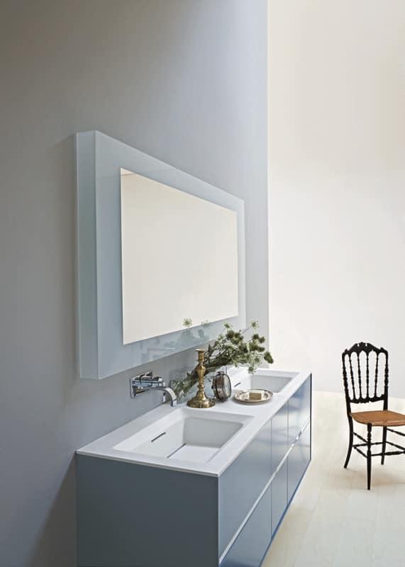 Mobile bagno con due lavabi colore azzurro opaco idfdesign - Mobile bagno con due lavabi ...