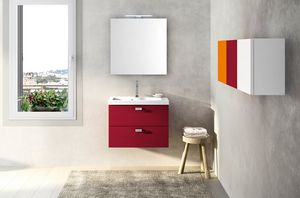 Lime Ø comp.25, Mobile da bagno rosso, con lavabo in ceramica