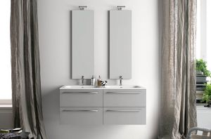 Lime Ø comp.26, Mobile bagno con doppio lavabo e specchiere verticali
