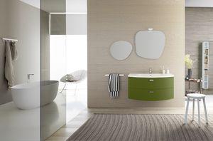 Lime � comp.32, Mobile da bagno curvo, con doppio cassettone