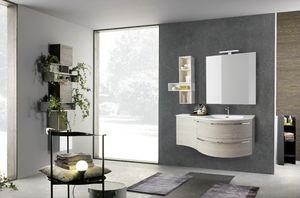 Lime Ø comp.33, Mobile curvato per bagno, con lavabo in mineralmarmo