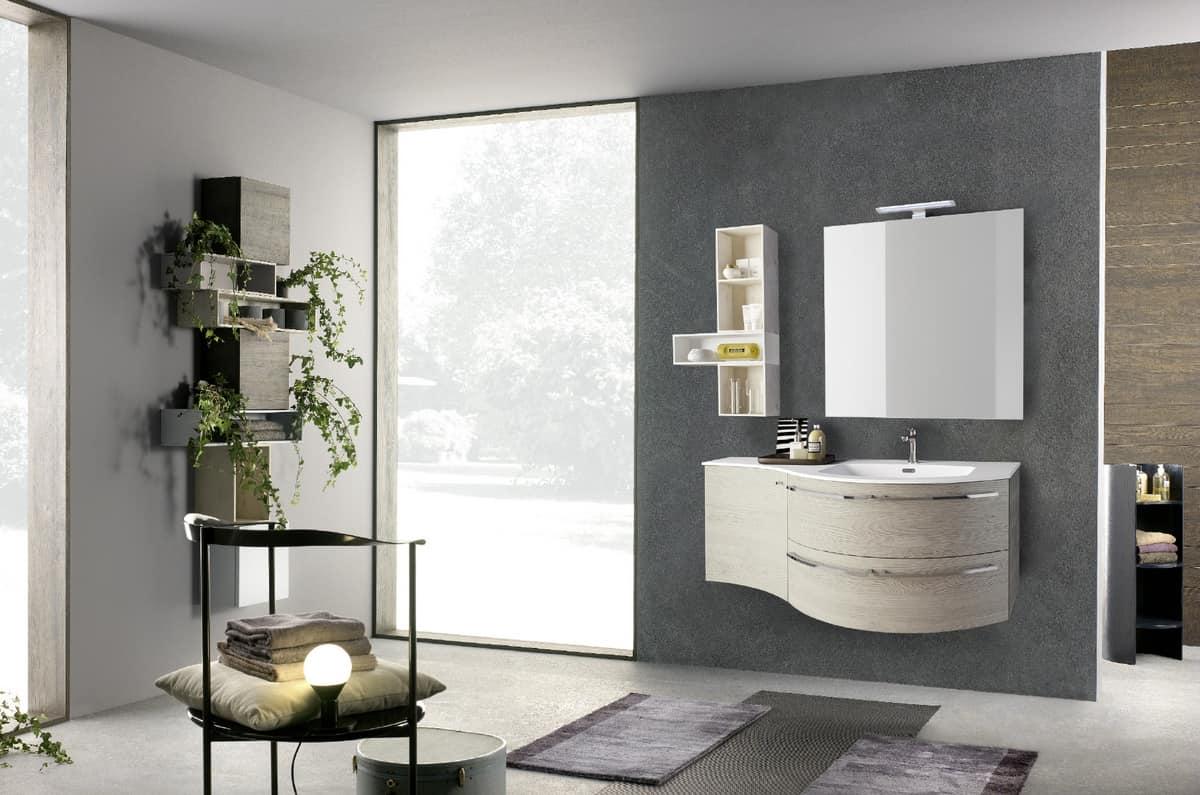 Mobile curvato per bagno con lavabo in mineralmarmo for Aziende arredo bagno